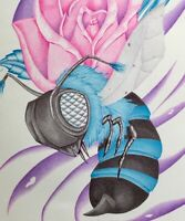 ORIGINAL INMATE PRISON ART COLORED PEN DRAWING HORNET WASP BEE PINK ROSE 12x9