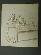 Beau Dessin Ancien Lavis d'Encre OSWALD HEIDBRINCK c.1900