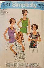 Vtg Simplicity Pattern 7911 Women's Back Zipper Tops  size 40 & 42 uncut