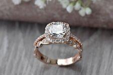 2.00ct Cushion-Cut Diamond Halo Bridal Set Engagement Ring 10K Rose Gold Finish