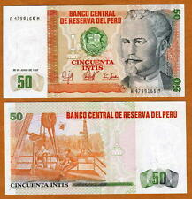 Peru, 50 Intis, 1987, A-prefix, P-131, UNC