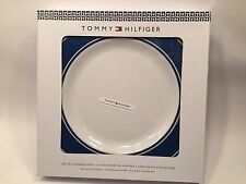 "(4) Four Tommy Hilfiger 11"" Melamine Nautical Blue & White Dinner Plate Set NIB"