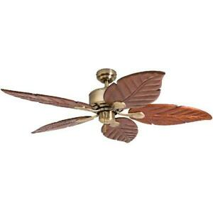 Honeywell Willow View 52 In. Aged Brass Tropical Ceiling Fan Hand Carved Blades