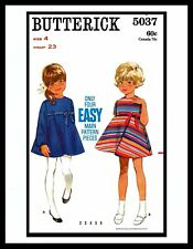 Butterick 5037 Girl's Empire Waist Modest DRESS FROCK Sewing Pattern Toddler ~4~