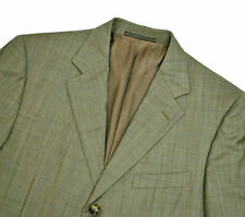 Ermenegildo Zegna Jacket 42R 52 Large Beige Olive Windowpane All Season Blazer