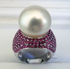 HS Gem Quality White South Sea Cultured Pearl 16.65mm & Ruby 5.628ctw 18KWG Ring