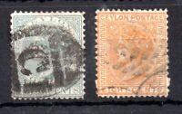 Ceylon QV 1872 4c #134 & 8c #135 used Cat Val £93 WS13482