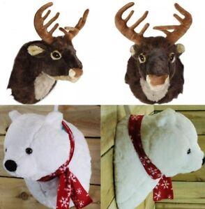 Christmas Plush Singing Polar Bear & Reindeer Head Wall Hanging Ornament  Fun