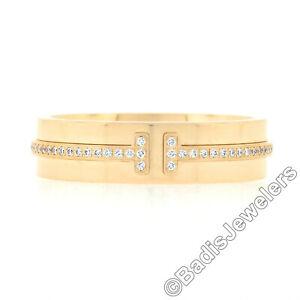 Tiffany & Co. T Italian 18k Rose Gold 0.12ctw Pave Diamond Wide Band Ring w/ Box