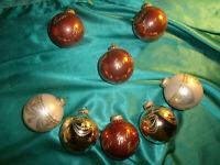~ 8 alte Christbaumkugeln Glas gold creme dunkel rosa rose Weihnachtskugeln CBS