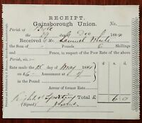 Gainsborough Union Parish of Bole, Poor Rate Payment Document 29th Dec 1884