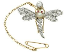 Victorian 1.30 ct Diamond and Pearl Ruby and Yellow Gold Dragonfly Brooch