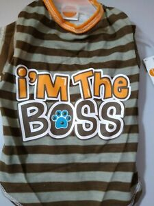 """Simply Dog """"I'm the BOSS"""" T-Shirt Brown Stripped New XS 12""""-14"""" Super Cute"""