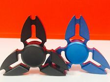 2 Pcs (BLACK & BLUE) Fidget Spinner Metallic Brass , Retail Package. USA Seller