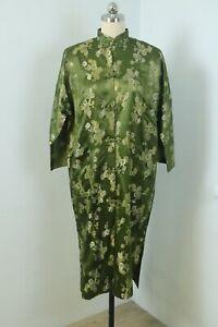 Vintage 60s Olive Green Japanese 100% Silk Damask Robe Jacket Metallic M