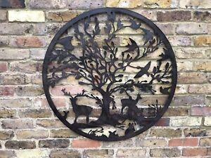 Tree Of Life Metal Wall Art Woodland Scene Garden Ornament Patio Gift Deer Bird