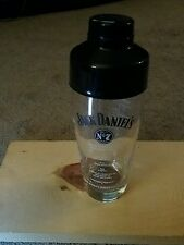 Jack Daniels Clear Glass Cocktail Shaker Mixer Old No. 7 Brand With Black Lid