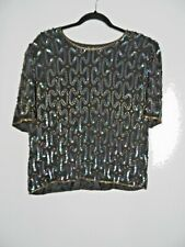 KUKU Vintage Silk Sequin Beaded Top Size L Boxy Shoulder Pads Party Evening
