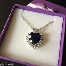P168 Blue Sapphire Heart Sim Diamond Pendant & Chain White Gold GF BOXED Plum UK