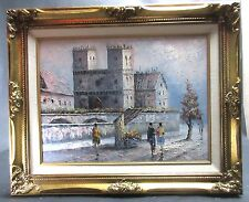 "Vintage MCM Oil Painting James Belton ""W"" Bonsall On Canvas Cityscape Framed"