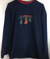 C&B Sport Fleece Top Size Large L Christmas Ugly Sweater Long Sleeve Navy Red