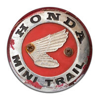 Honda Mini Trail Wings Badge Rusted Weathered Round MDF Wood Sign