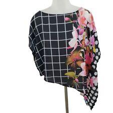 Joseph Ribkoff Top 10 Asymmetric Black White Plaid Floral Pink Draped Sheer