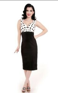 NWT B&W Polka Dot Rock Steady Retro Rockabilly Pinup Diva Wiggle Dress 3x