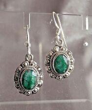 Emerald Stone Earrings set in Sterling Silver.