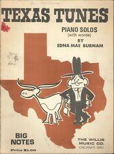 Texas Tunes Big Note Piano Solos w Lyrics 1970 Burnam Lone Star March Longhorn