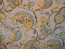 Blue Gold Green Ivory Chenille Woven Paisley Upholstery Fabric