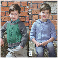 KNITTING PATTERN Childrens Long Sleeve Cable Jumper & Hoodie Aran King Cole 3977