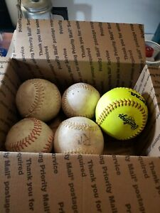 Lot of 5  practice Softballs various size FREE SHIPPING