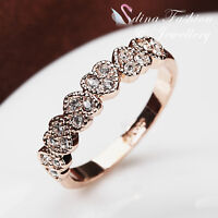 18K Rose Gold Plated Simulated Diamond Exquisite Six Hearts Band Ring Jewellery
