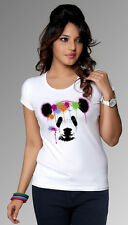 Women's Neon Panda Head T-Shirt,Cotton Blends (Women's Size: S,M,L, XL)