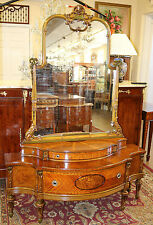 Best RESTORED French Satinwood & Burled Walnut Paint Decorated Vanity W Mirror