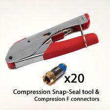 Snap-sello arrugador RG6 WF100 RG59 Cable Coaxial Compresión F Conector Plug x20