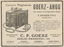 Z1360 Camera Pieghevole GOERZ-ANGO - Pubblicità d'epoca - 1909 Old advertising