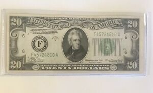 1934 A $20 FEDERAL RESV NOTE  CRISP!  X-FINE!  LIME GREEN SEAL!  ON SALE! (4)