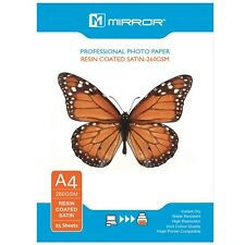 MIRROR 260GSM HIGH RESIN COATED SATIN INKJET PHOTO PAPER A4 / 25 SHEET PACK