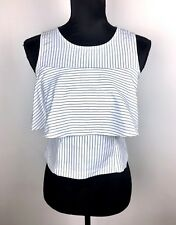 White black sz XS/S stripe basic summer women tank crop top shirt tee cute kawai