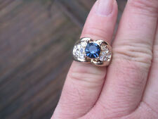 Gold-Plated Ring w/ Blue and Clear Rhinestones, Size 6,75, Marked 18K GE