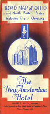 1938 Ohio and Northeastern United States Road Map from New Amsterdam Hotel