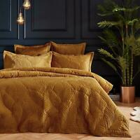 LUX EMBROIDERED ART DECO LEAVES QUILTED VELVET GOLD SINGLE DUVET COVER