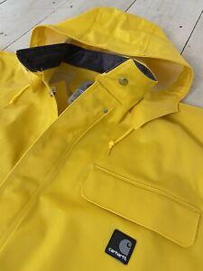 NEW Carhartt Heavyweight Rain Jacket Yellow Coat Snap Up Hood Mens Size L C64YLW