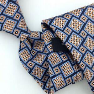 Ermenegildo Zegna Tie Italy Navy Gold Squares Woven Necktie Luxury Men Ties New