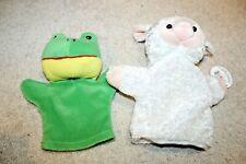 Lot of 2 Stuffed Animal Plush Hand puppets plush white lamb sheep green frog
