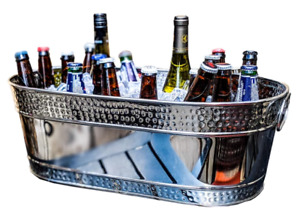 Hammered Oval Beverage Bucket - Stainless Steel *B Grade* (Pack of 2)