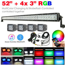 "5D RGB 52 inch 300W LED Light Bar + 4x 3"" 24W Pods Color Changing Bluetooth APP"