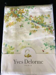 "YvesDelormeLucineFlat Sheet 70x116"" Jasmine Floral White Multi Cotton Percale"